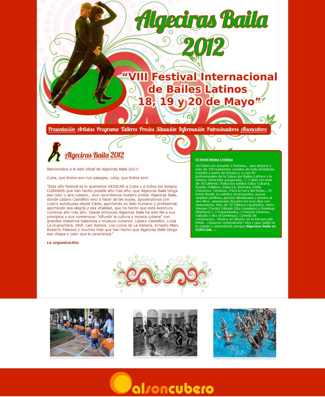 Algeciras Baila 2012 - 18, 19 y 20 de Mayo. Html, Css, Dreamweaver, Photoshop. Año 2012
