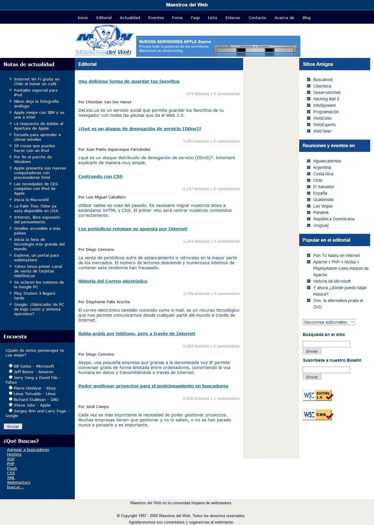 Competencia rediseño portal Maestrosdelweb. Html, Css, Accesibilidad. Año 2006