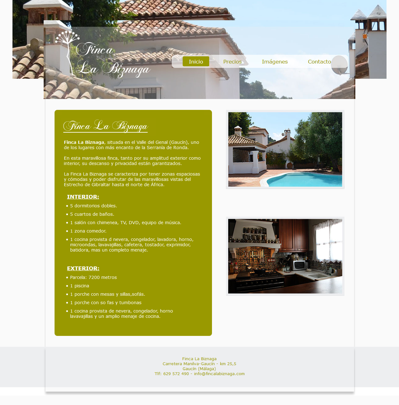 Finca La Biznaga - Gaucín (Málaga). Html, Css, Javascript, Jquery, Php, Mysql, Dreamweaver, Photoshop. Año 2011