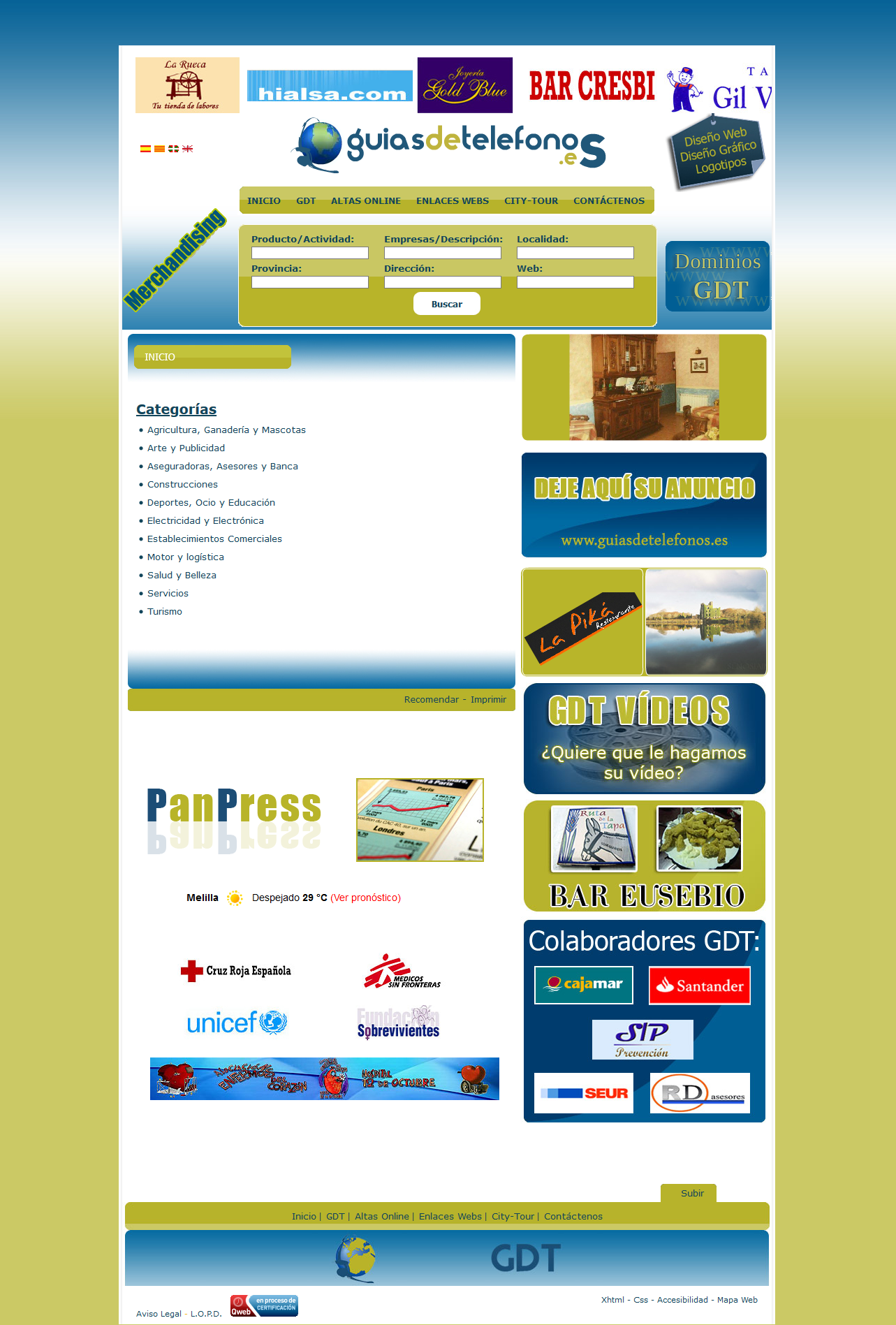 Guías de Teléfonos .es - Guía telefónica de empresas - Php, Mysql, Javascript, XHTML 1.0 Strict, CSS, Accesibilidad, Photoshop, Dreamweaver. Año 2008