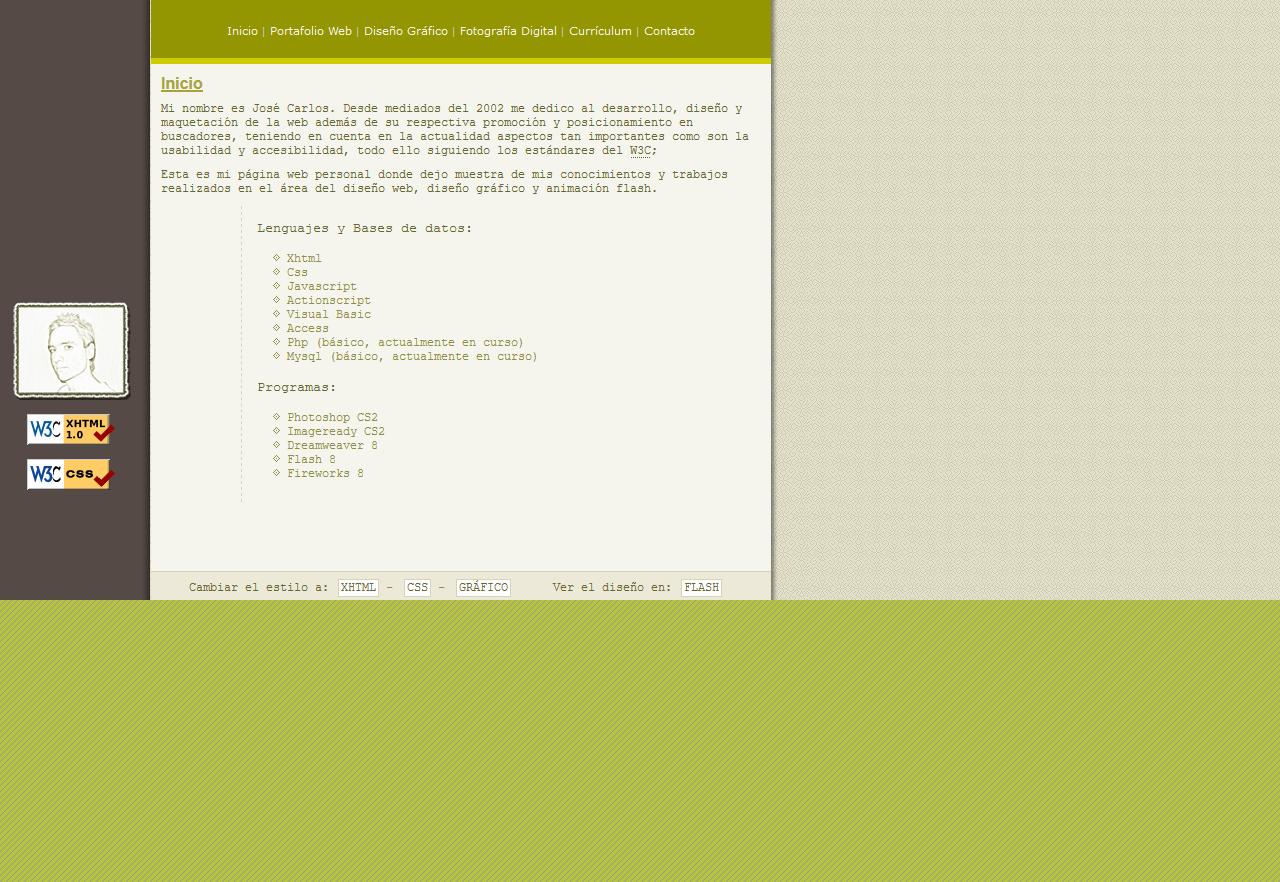 Diseño Web José Carlos Almansa Pérez - Diseñador de páginas webs - Xhtml 1.1 Strict - CSS. Año 2005
