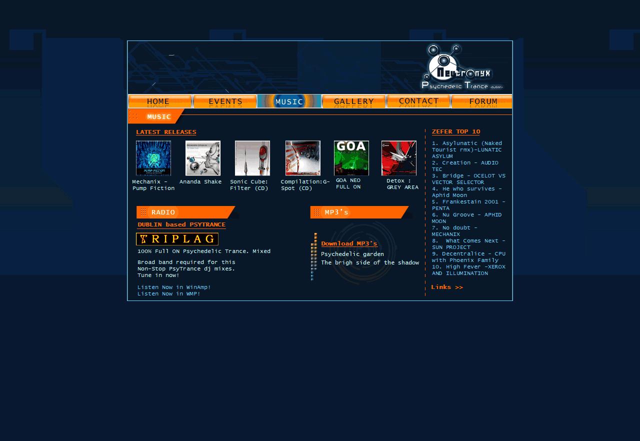 Neutronyx - Psychedelic Trance Dublin. Html, Css, Flash, ActionScript 3.0 Año 2005