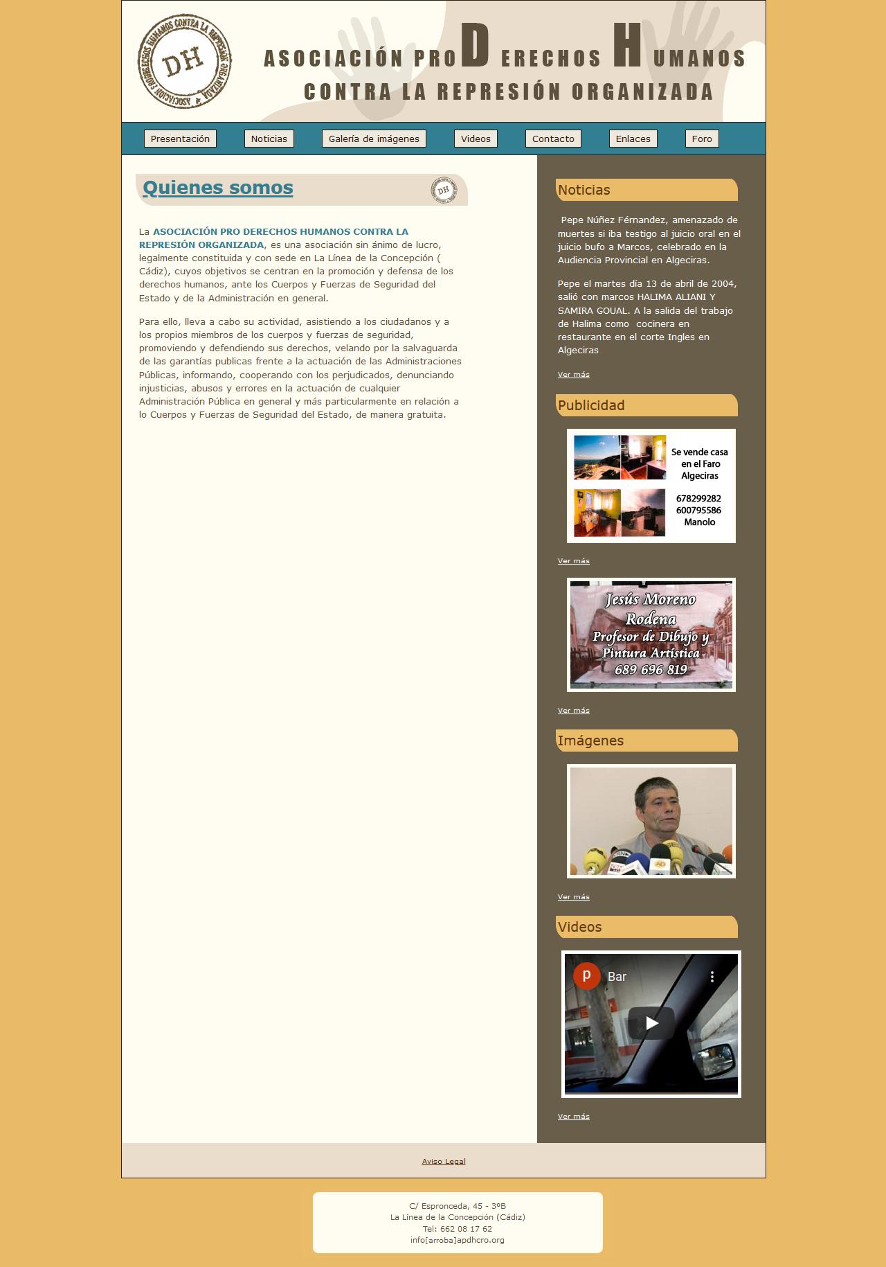 Asociación Pro Derechos Humanos Contra la Represión Organizada - www.apdhcro.org - Html, Css, Javascript, Php, Mysql, Photoshop. Año 2008