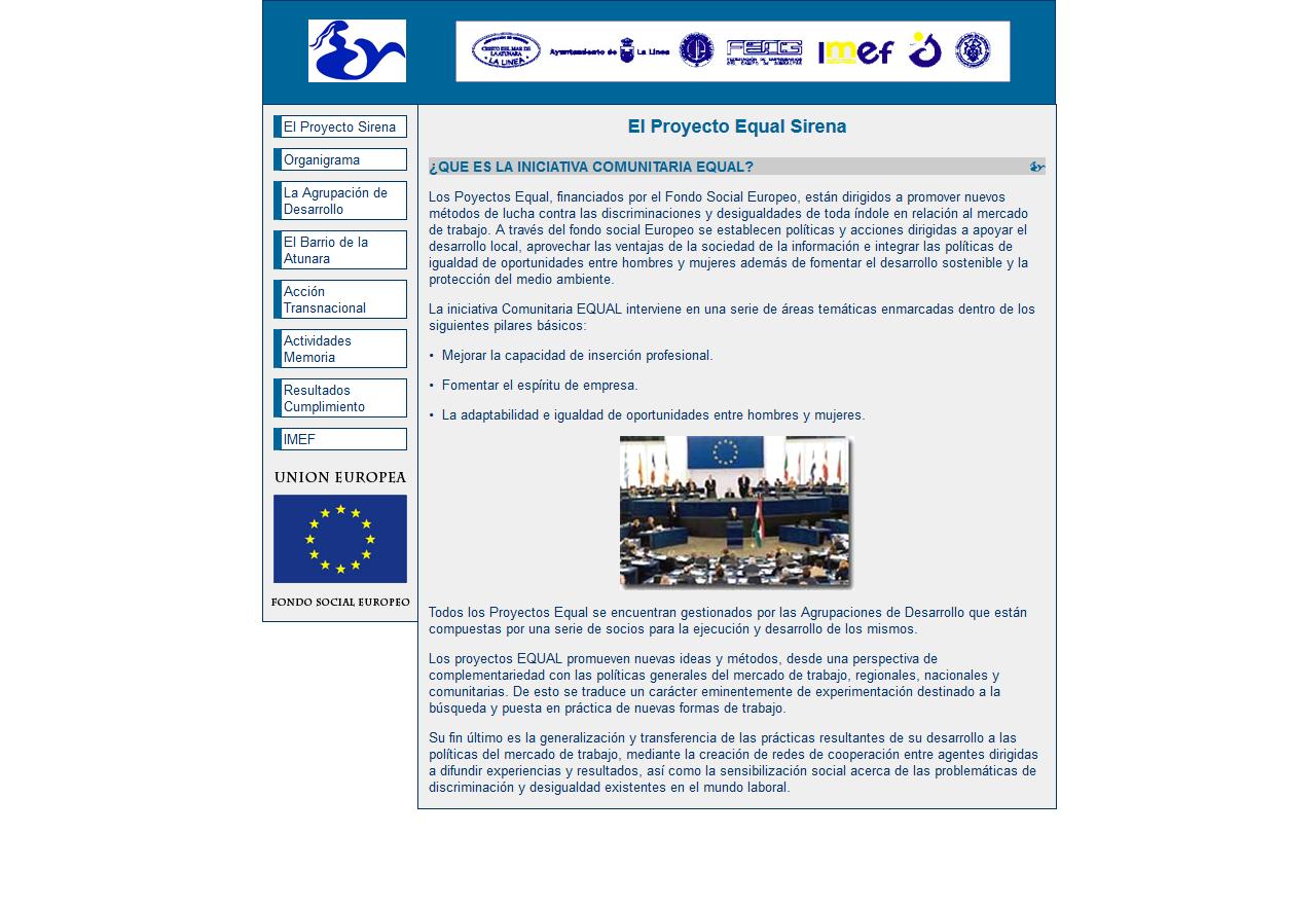 Proyecto Equal Sirena - Fondo social europeo - La Línea de la Concepción. Html, Css, Dreamweaver, Photoshop. Año 2005