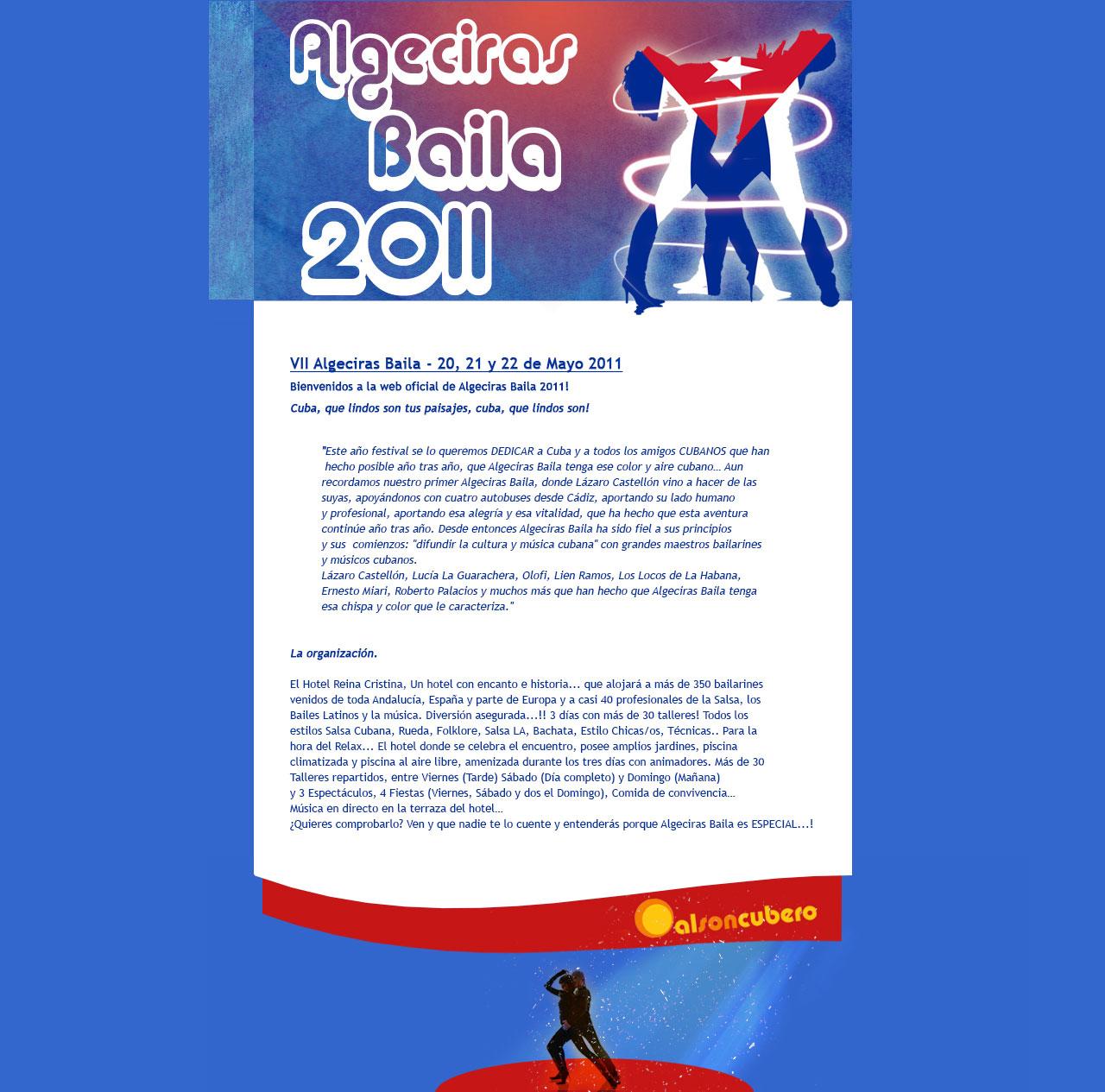 VII Algeciras Baila - 20, 21 y 22 de Mayo 2011. Html, Css, Dreamweaver, Photoshop. Año 2011