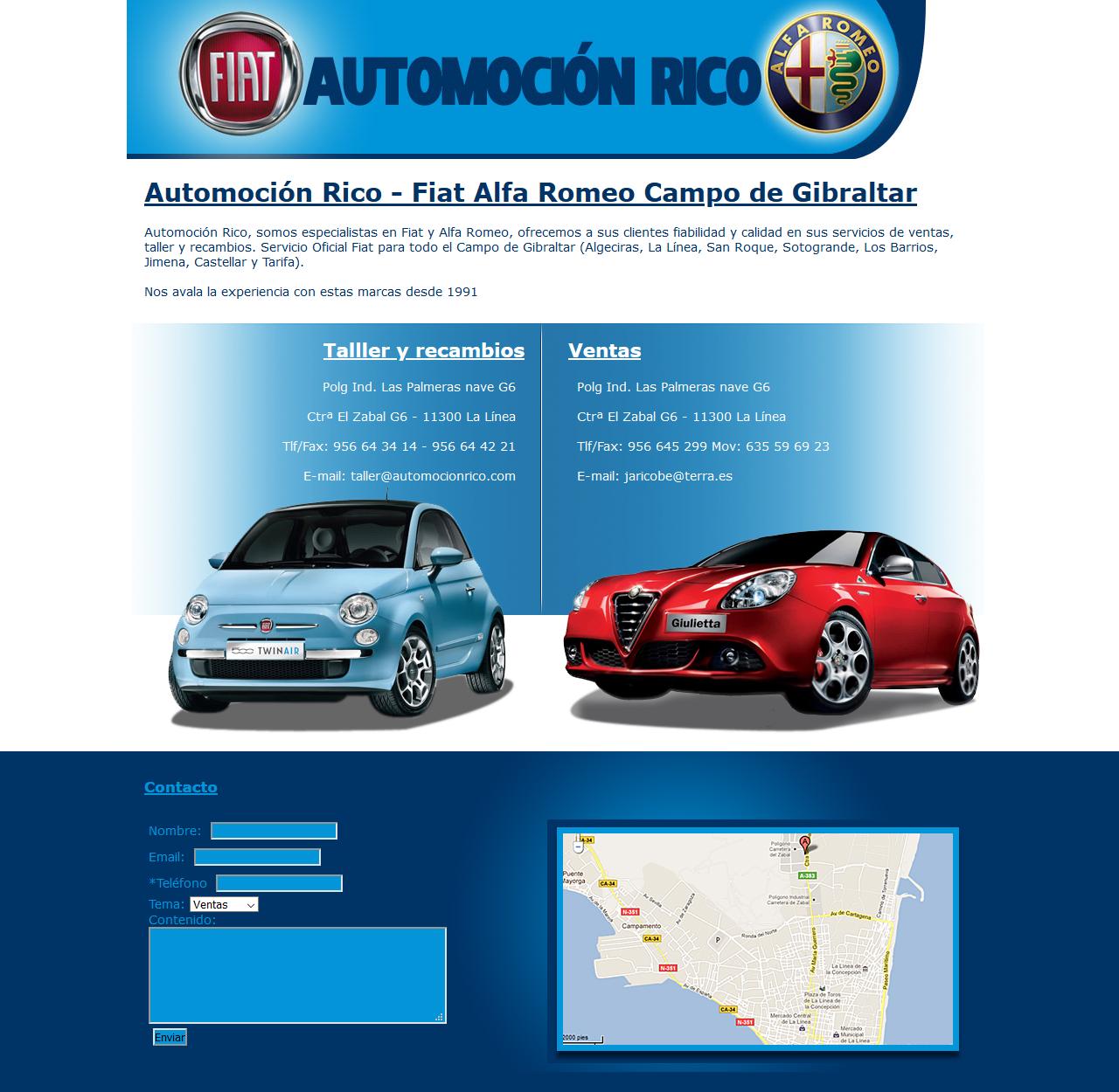Automoción Rico - Fiat Alfa Romeo Campo de Gibraltar. Html, Css, Php, Photoshop. Año 2011