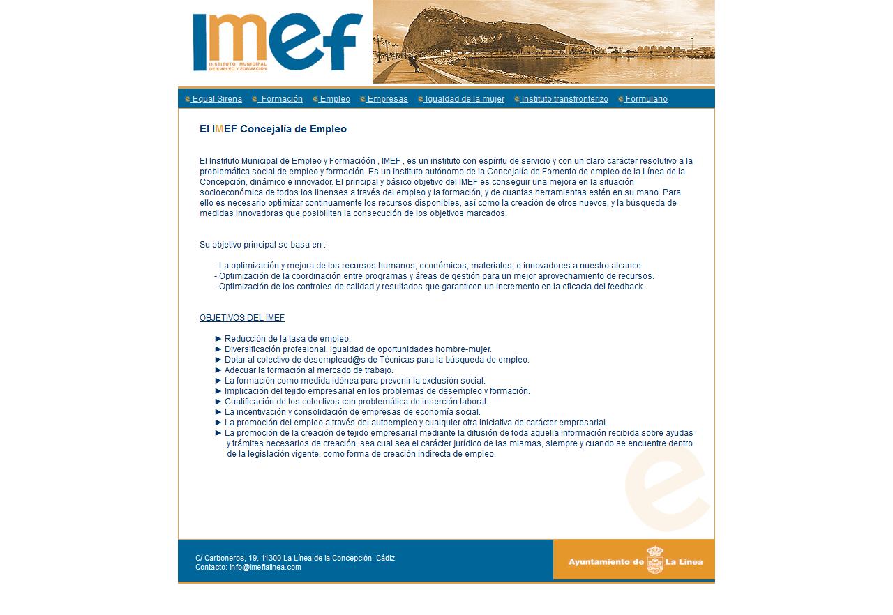 Imef - Instituto Municipal de Empleo y Formación - La Línea de la Concepción. Html, Css, Php, Mysql, Dreamweaver, Photoshop. Año 2005