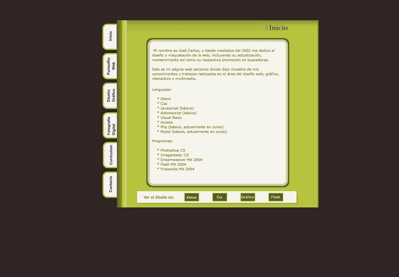José Carlos Almansa Pérez - Diseñador de páginas webs Flash, ActionScript 3.0. Año 2005